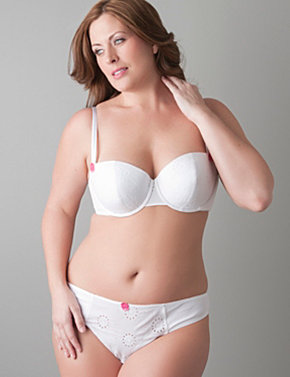 Eyelet lace cotton demi bra and tanga panty