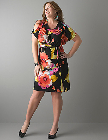 Full figure Watercolor floral dress by Lane Bryant
