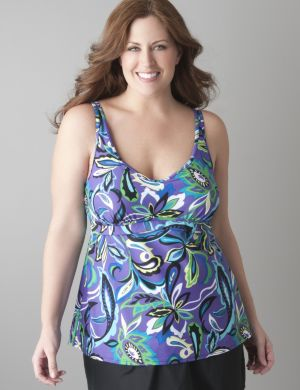 Paisley swim top with built in Cacique no wire bra
