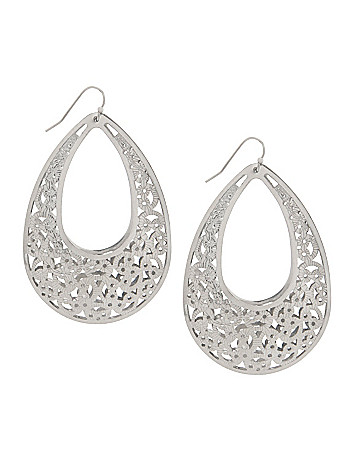 Silvertone filigree teardrop earrings by Lane Bryant