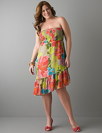 Floral smocked convertible dress by Lane Bryant