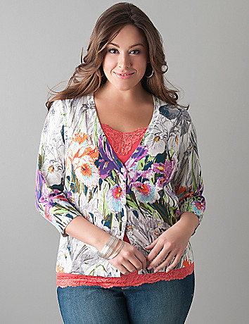 Embellished iris cardigan by Lane Bryant