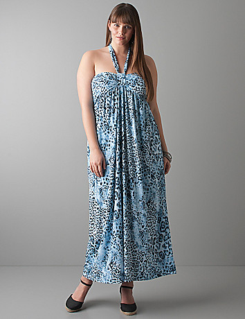 Animal print halter maxi dress by Lane Bryant