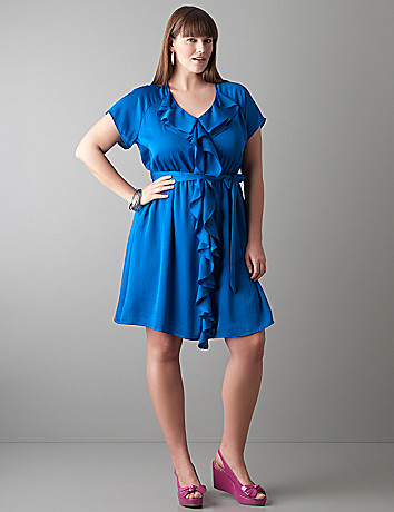 Short sleeve ruffle dress by Lane Bryant