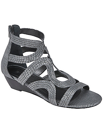 Grecian swirl low wedge sandal by Lane Bryant