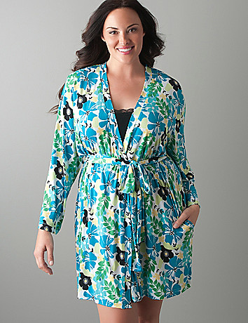 Plus size Silky floral robe by Cacique