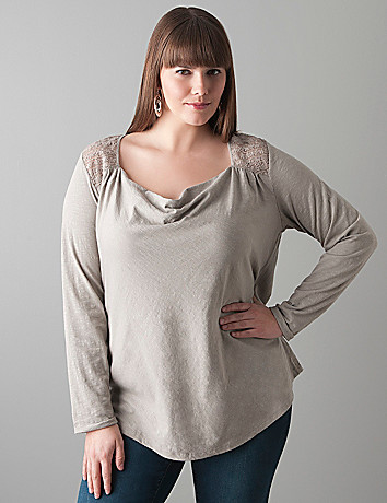 Long sleeve cowl top by DKNY JEANS