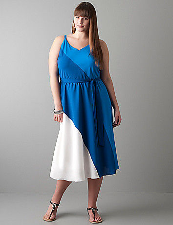 Diagonal colorblock dress by Lane Bryant
