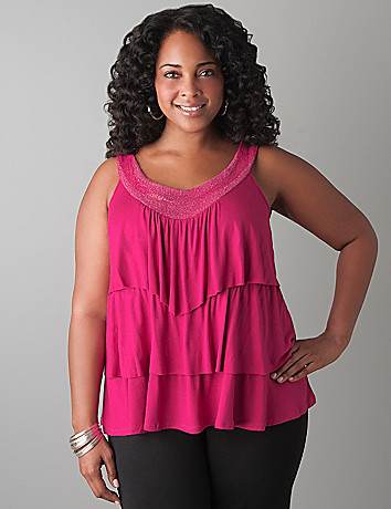 Embellished tiered tank by Lane Bryant