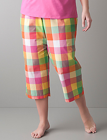 Madras plaid cropped sleep pant by Cacique