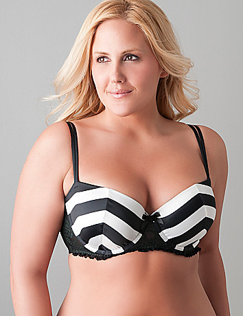 Plus size Satin striped push up bra by Cacique