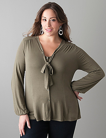 Knit tie front blouse by Lane Bryant