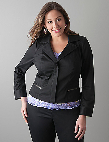 Sateen moto jacket by Lane Bryant