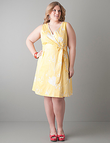 Floral ribbon trim dress by Lane Bryant