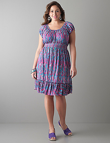 Print peasant dress by Lane Bryant