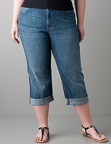 Echo wash denim crop by Lane Bryant