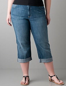 Echo wash denim crop with Right Fit Technology