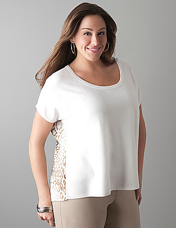 Chiffon back pullover sweater by Lane Bryant