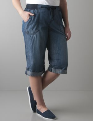 Knit waistband denim capri