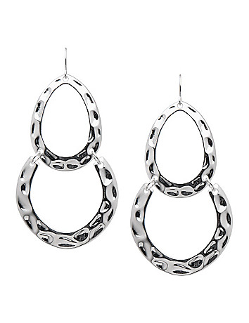 Hammered silvertone drop earrings by Lane Bryant