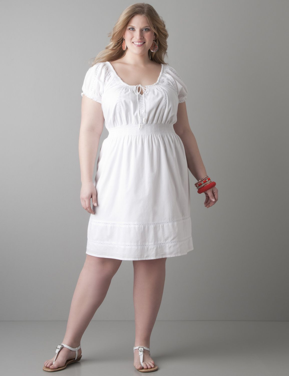 Plus size white peasant dress