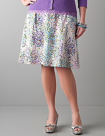 Color burst sateen A-line skirt by Lane Bryant
