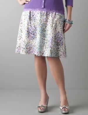 Color burst sateen A-line skirt