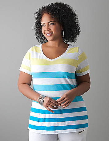 Striped slub V-neck tee by Lane Bryant