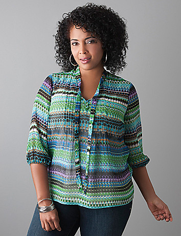 Plus size Tie front blouse by Lane Bryant