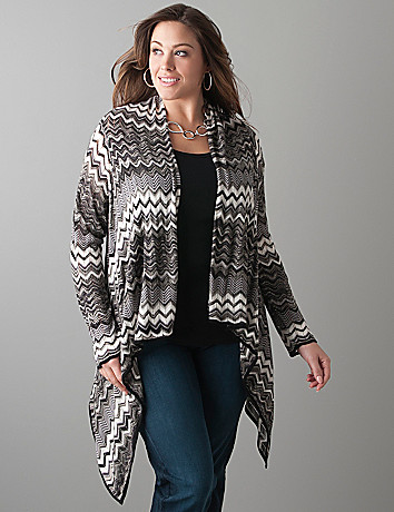 Zig zag open cardigan by Lane Bryant