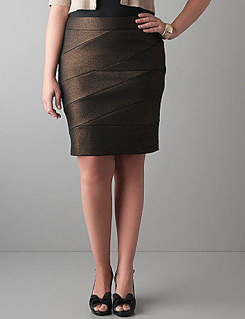 Foiled bandage mini skirt by Lane Bryant