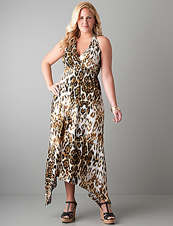 Full figure Leopard halter maxi dress by Seven7