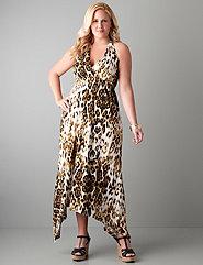 Full figure Leopard halter maxi dress by Seven7