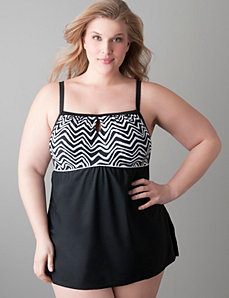 Zig zag swim dress with built in Cacique no wire bra by Cacique