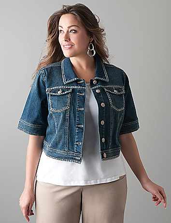 Heavy stitch denim jacket by Lane Bryant