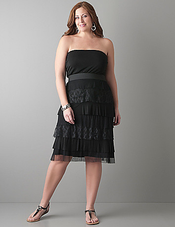 Tiered lace tube dress by Lane Bryant