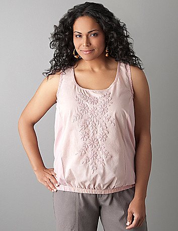 Plus size embroidered tank by DKNY JEANS