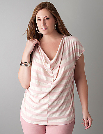 Striped drape neck top by DKNY JEANS