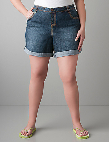 Rolled cuff denim short by Lane Bryant