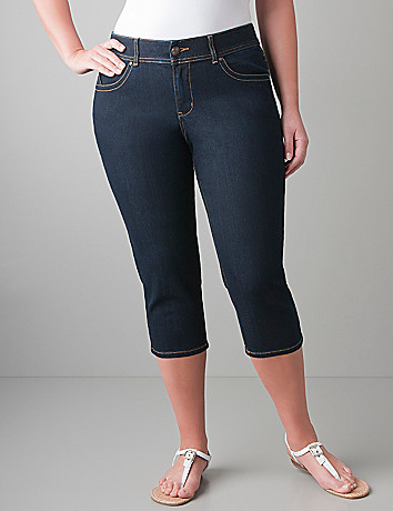 Plus size Dark rinse jegging capri by Lane Bryant