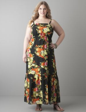 Citrus print chiffon maxi dress