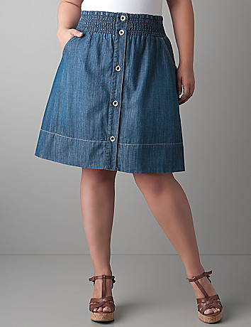 Button front denim skirt by Lane Bryant