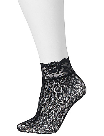 Leopard & lace cuff sock 2-pack by Lane Bryant