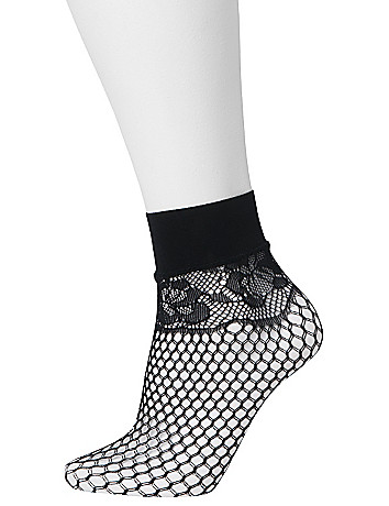 Fishnet & ruffled sock 2-pack by Lane Bryant