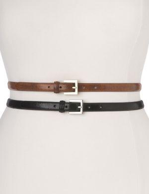 Patent snake print skinny belt duo