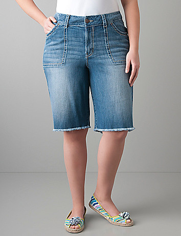 Womens plus size Raw edge denim Bermuda short by Lane Bryant