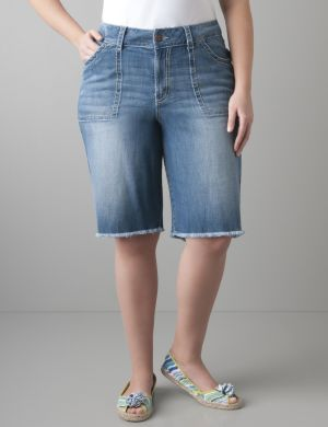 Raw edge denim Bermuda short