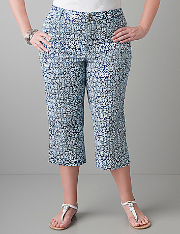 Print colored twill capri by Lane Bryant