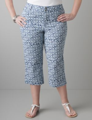 Print colored twill capri