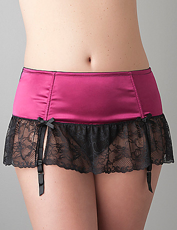 Full Figure Satin garter skirt by Cacique